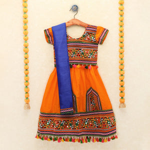 Chaniya Choli for Girls - Cap Sleeves Choli With Pom Pom Orange Lehenga
