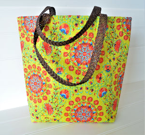 Handcrafted Cotton Bag - Yellow Orchids
