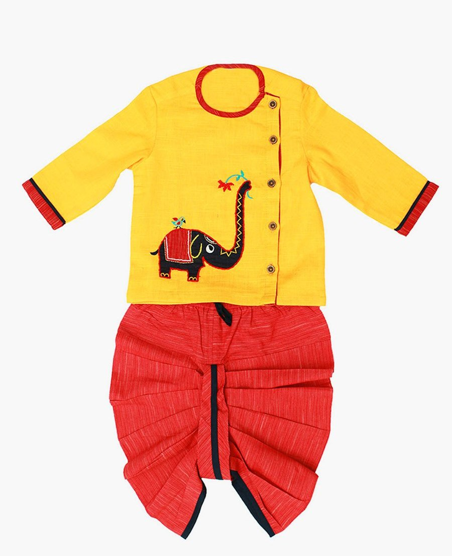 Yellow Red Dhoti Kurta Elephant