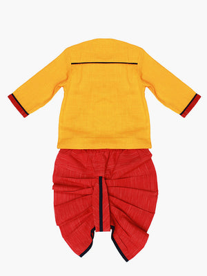 Baby - Yellow Red Dhoti Kurta