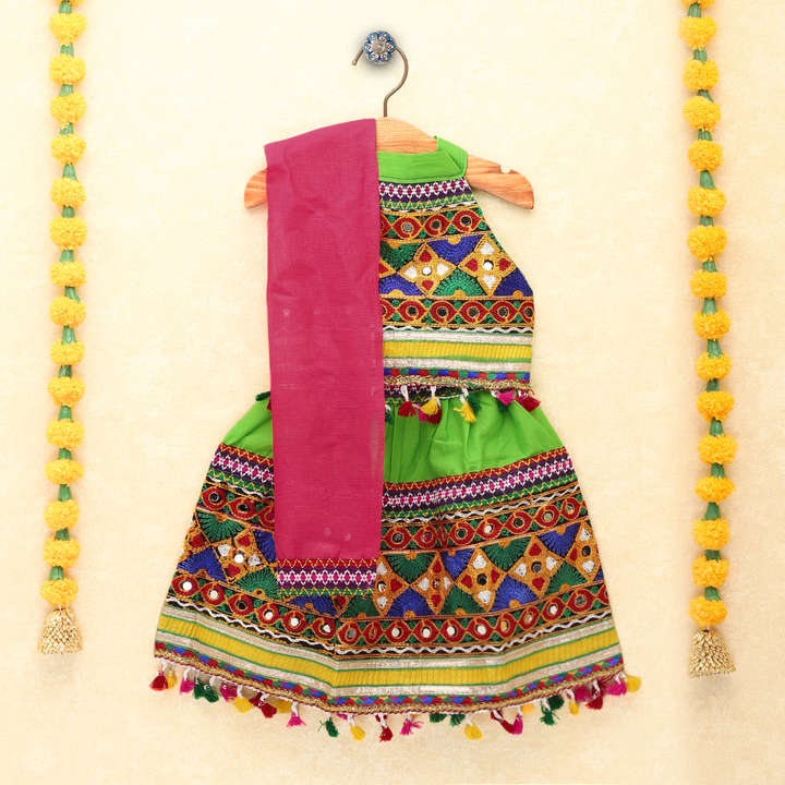 Chaniya Choli for Girls - Festive Embroidered Green Halter Neck