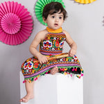 Chaniya Choli for Girls - Festive Embroidered Yellow Halter Neck