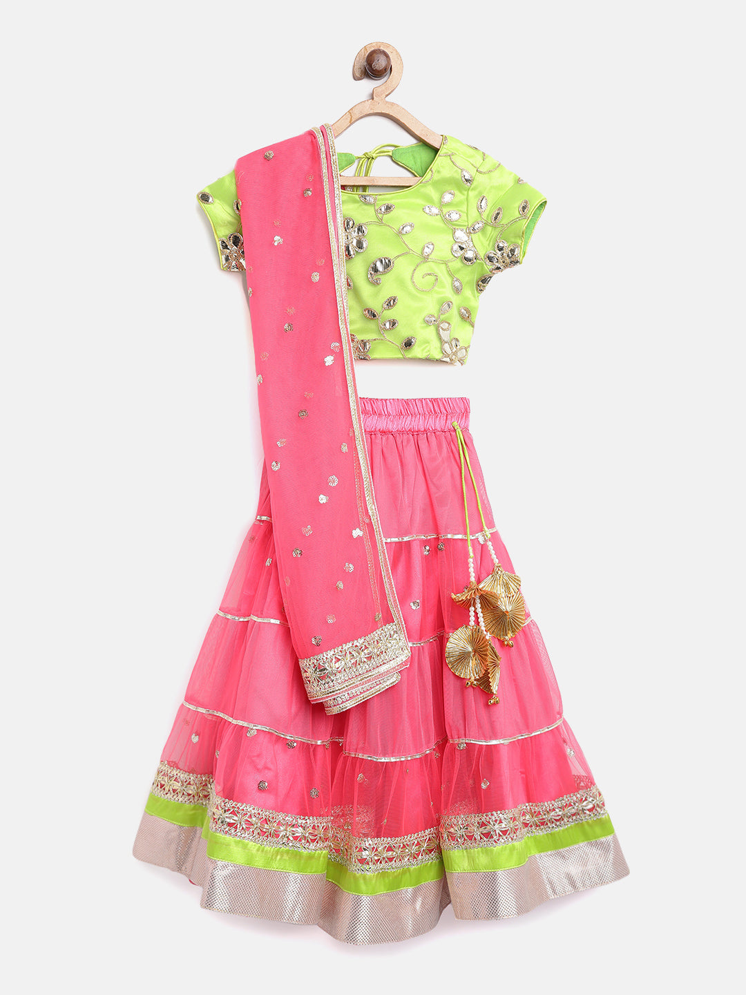 NEW ARRIVAL! Pink and Green - Woven Lehenga Choli
