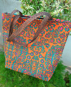 Handmade waterproof Colorful Fabric Indian unique tote handbag travelbag laptop bag traveltote orange orangebag orangetote printed orchids summer colors pop of color ethnic