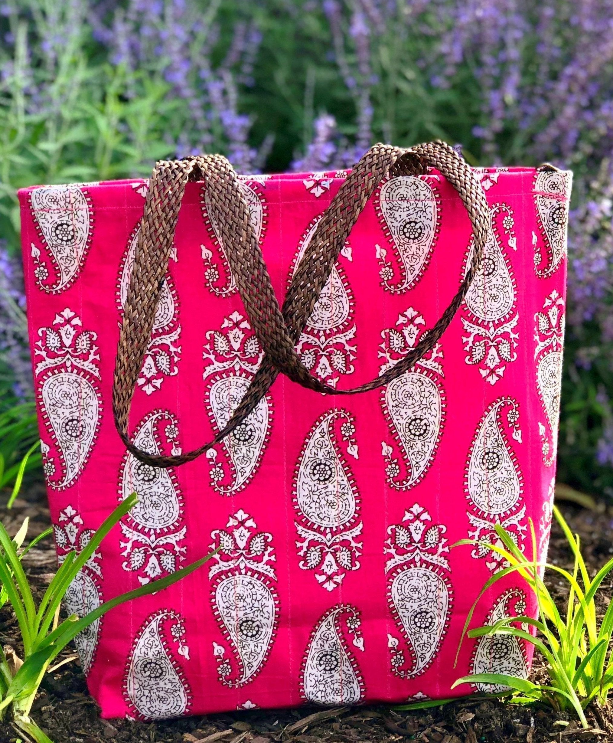 Handmade waterproof Colorful Fabric Indian unique tote handbag travelbag laptop bag traveltote pink paisely golden block print pinkbag printed summer colors pop of color ethnic