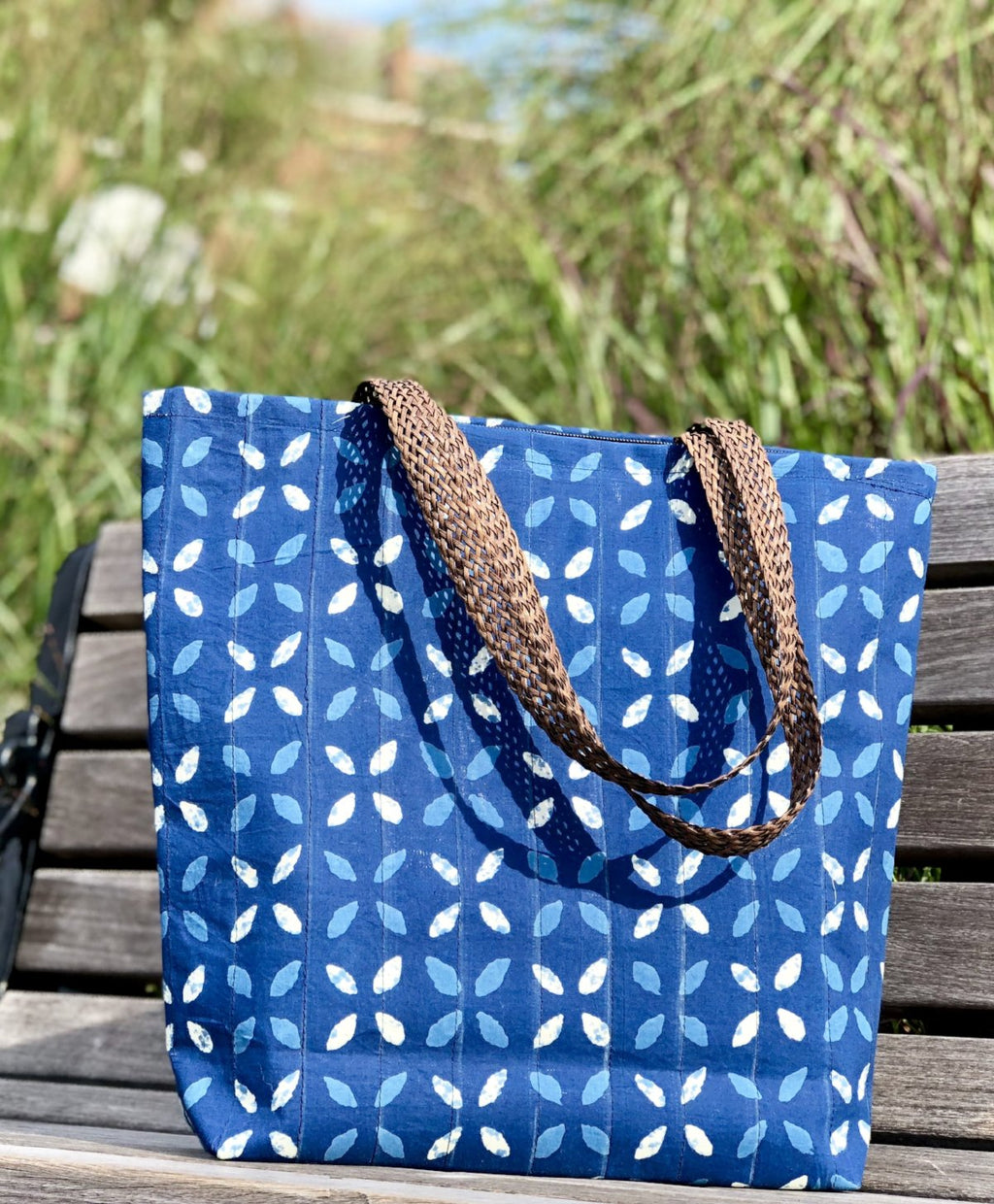 Handmade Colorful Fabric Indian unique tote handbag travelbag laptop bag traveltote printed blue navy summer colors pop of color ethnic waterproof indigo