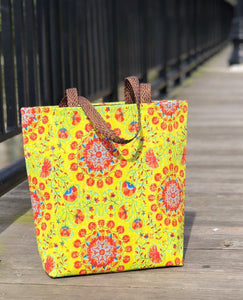Handmade Colorful Fabric Indian unique tote handbag travelbag laptop bag traveltote yellow mustard yellowbag printed orchids summer colors pop of color ethnic