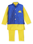 NEW ARRIVALS! Yellow and Blue Kurta Pajama with Jacket
