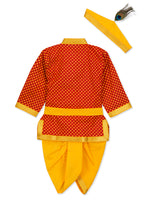 Red Orange Dhoti Kurta - Krishna Dress / Kanha Outfit