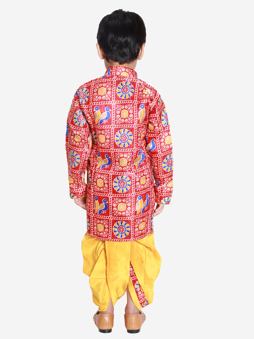 NEW ARRIVALS! Printed Red and Yellow Dhoti Kurta Set