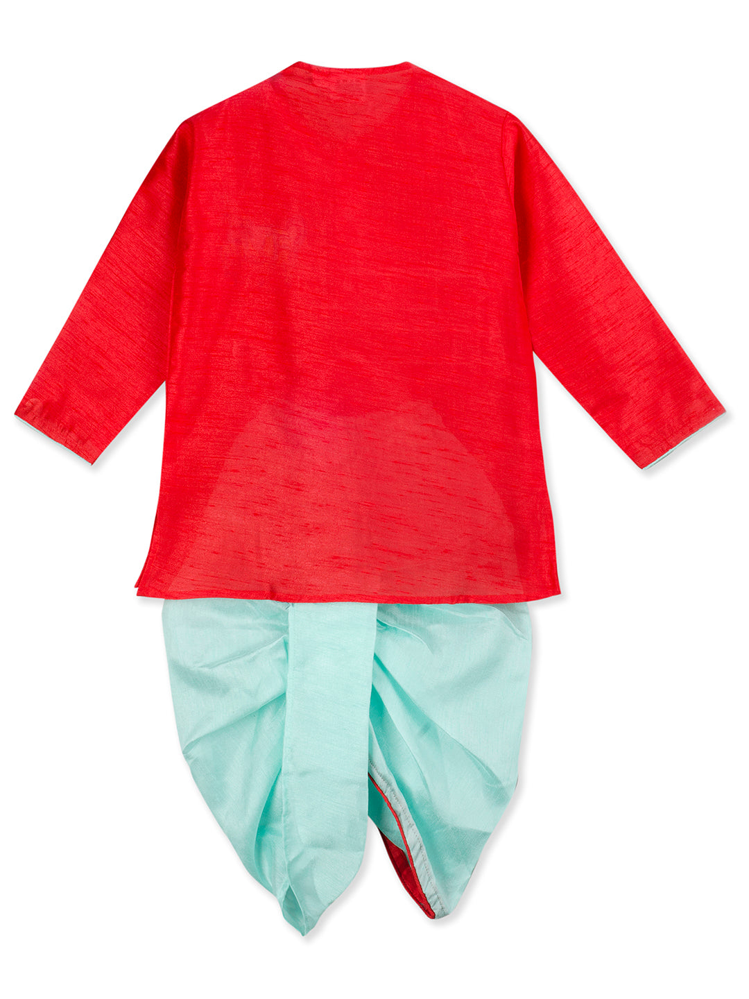 NEW ARRIVALS! Camel Emroidery Red Kurta Blue Dhoti Set For Boys
