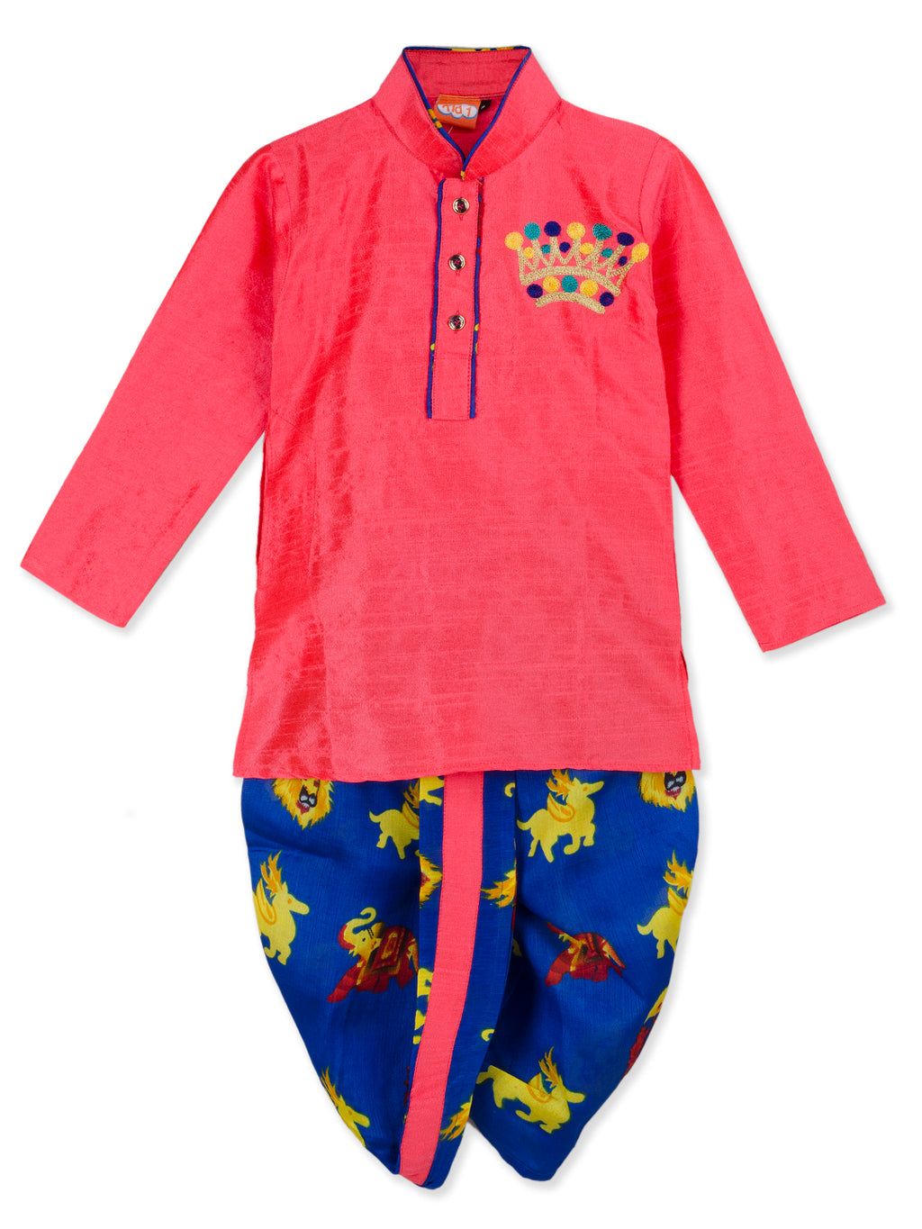 NEW ARRIVALS! Peach Kurta Blue Dhoti Set For Boys