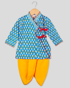 NEW ARRIVALS! Anghrakha Full Sleeves Blue Kurta Dhoti Set