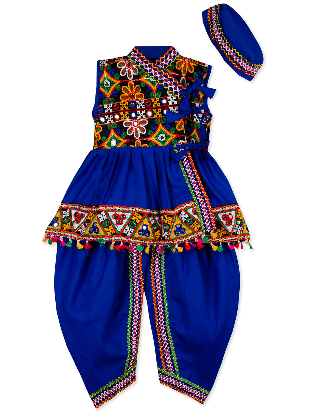 Royal Blue Sleeveless Kedia with Kutch Work Lace and Dhoti