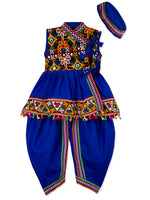 NEW ARRIVAL - Royal Blue Sleeveless Kedia with Kutch Work Lace and Dhoti