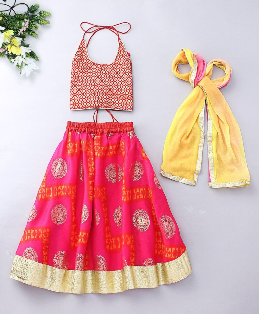 Pink Gold Lehenga Choli for girls