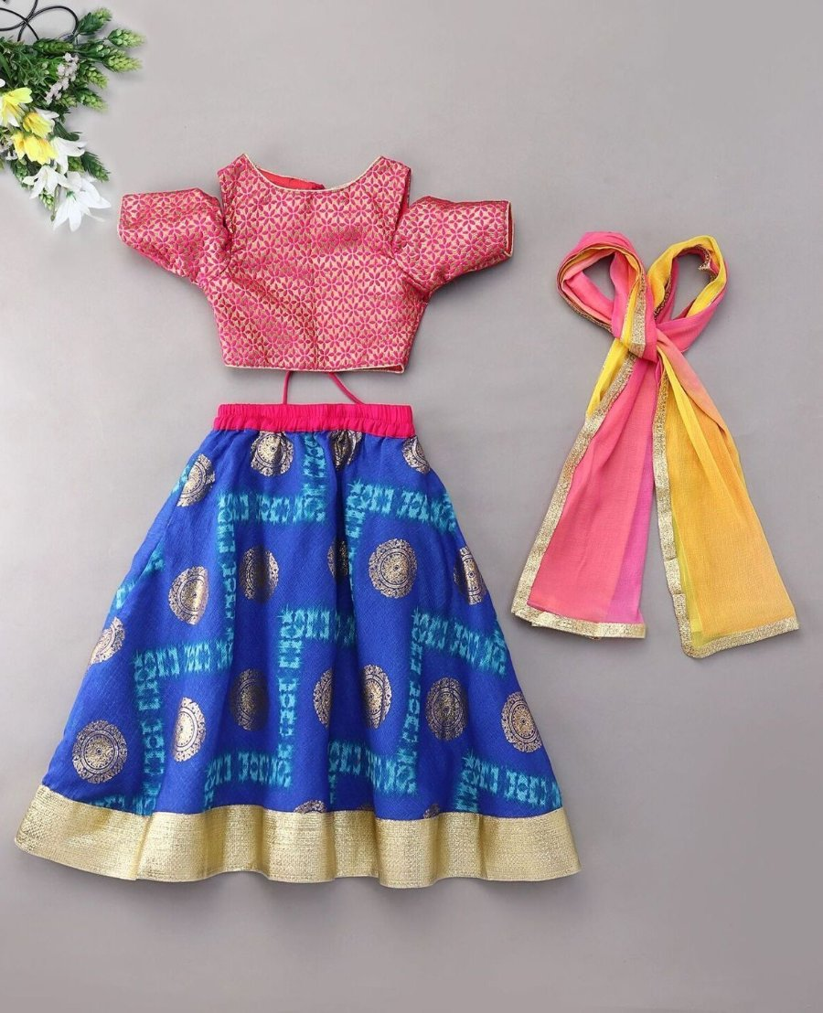 Blue Golden Block Print Lehenga Choli Indian Ethnic bright colorful festive ethnic kid children