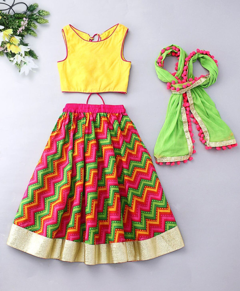 Yellow green leheriya navratri Lehenga Choli