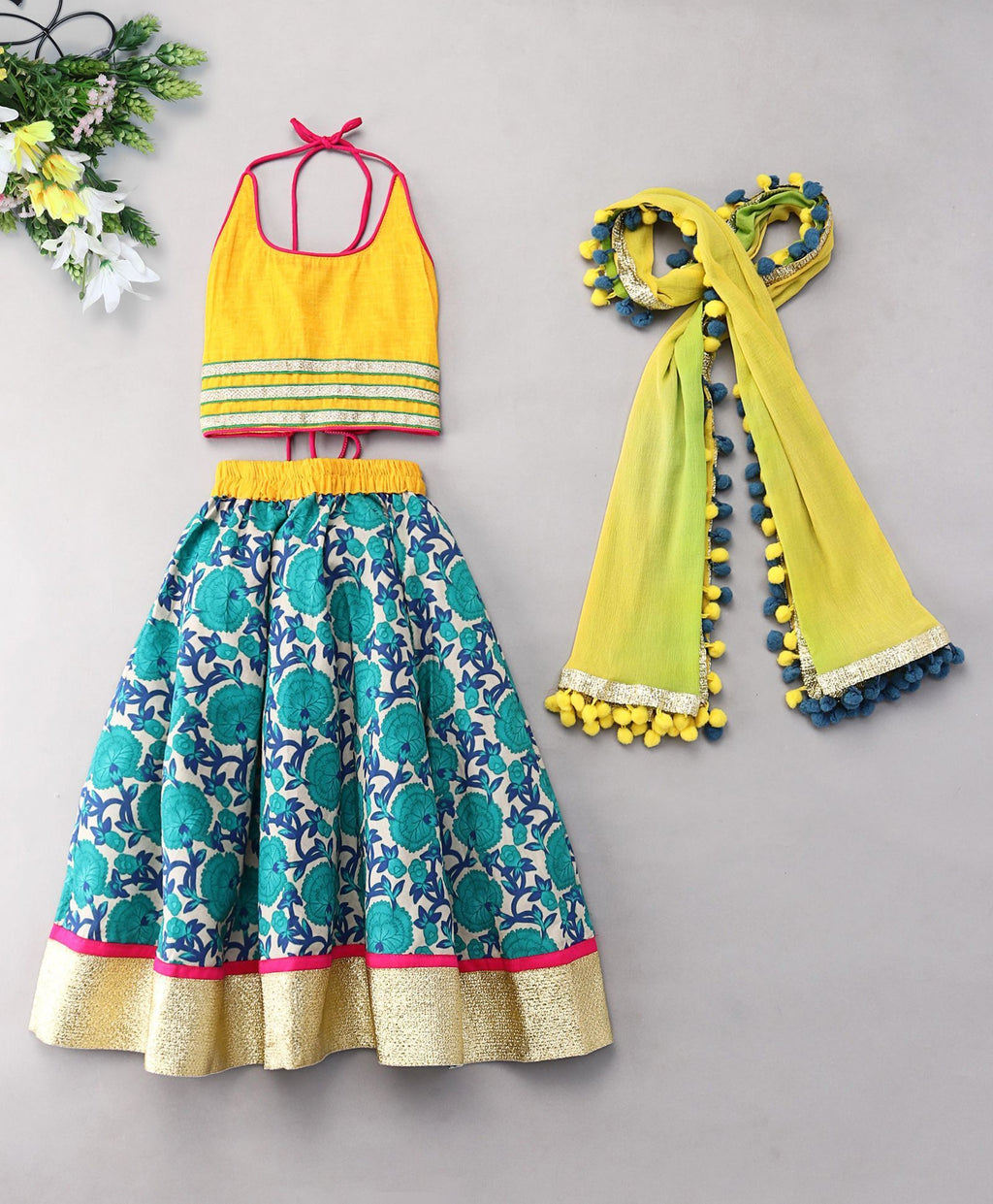 Blue yellow halter crop top jaipuri Lehenga Choli Indian Ethnic bright colorful festive ethnic kid children