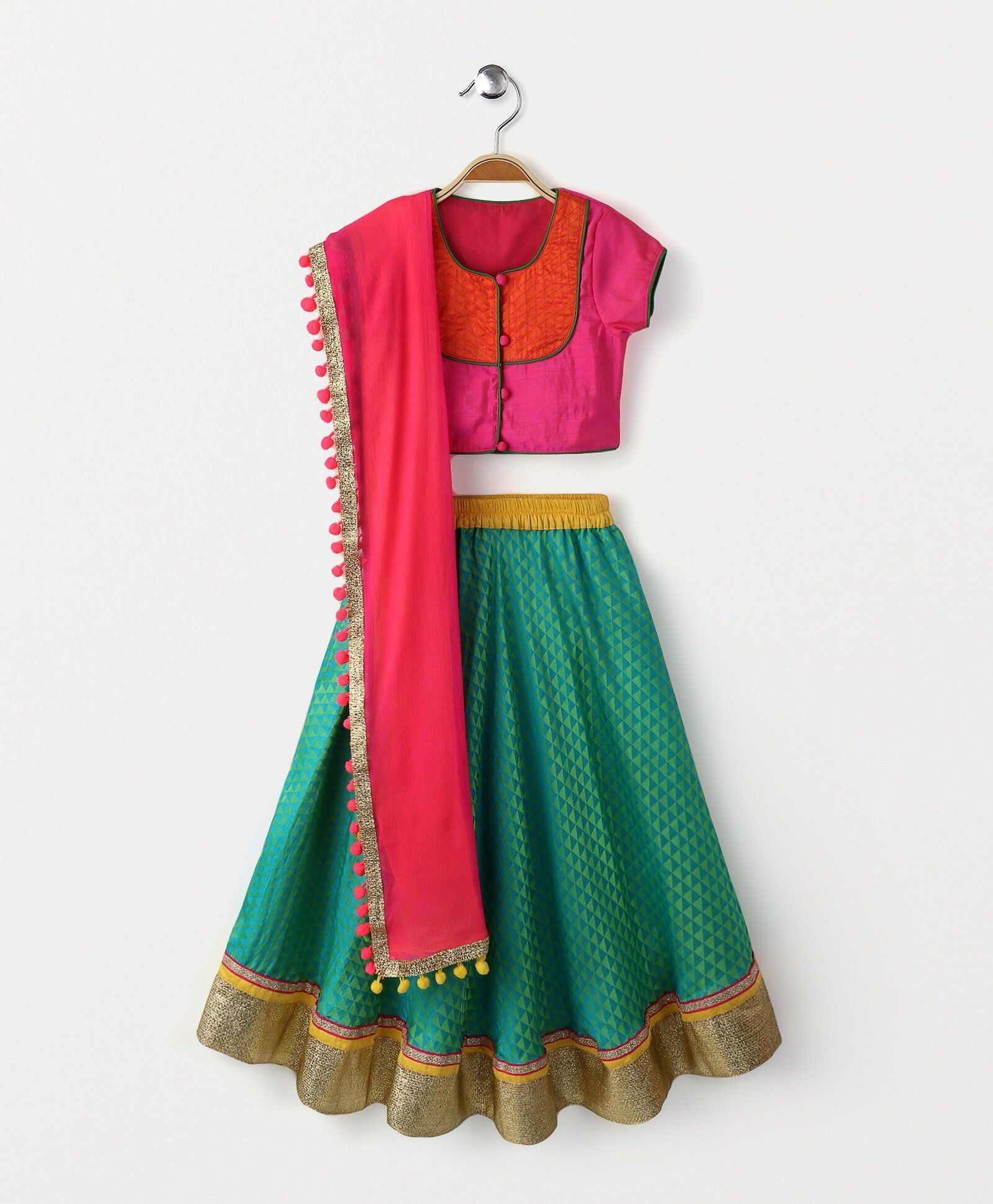 Green pink navratri garbha bollywood crop top Lehenga Choli Indian Ethnic bright colorful festive ethnic kid children