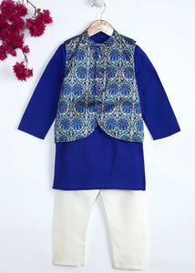 Blue Kurta Pajama with Jacket