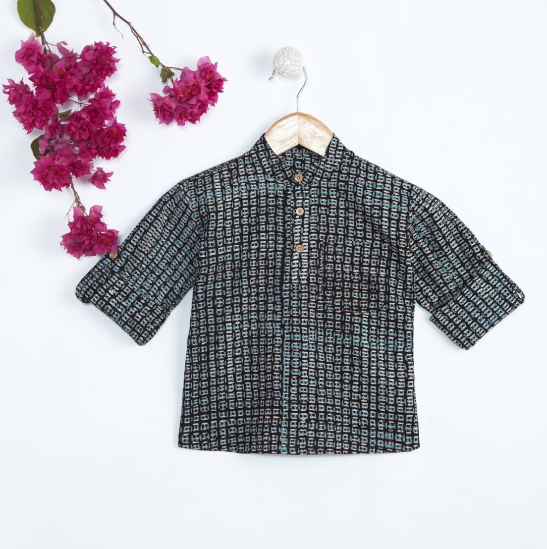 Boys Indo Western Short Cotton Kurta Hand Block Print