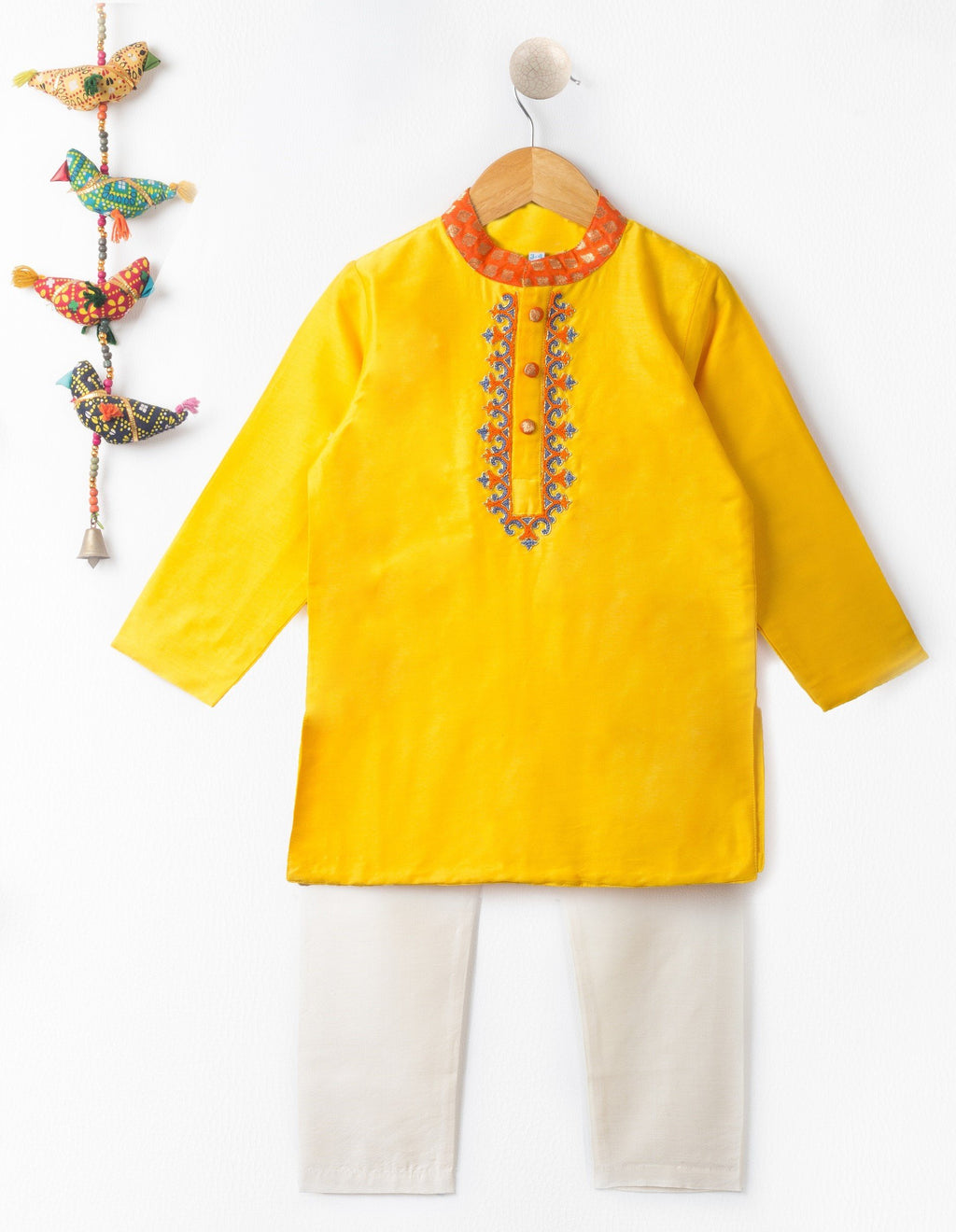 Baby - Yellow Hand Embroidery Silk Kurta Set