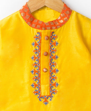 Yellow Hand Embroidery Silk Kurta Set