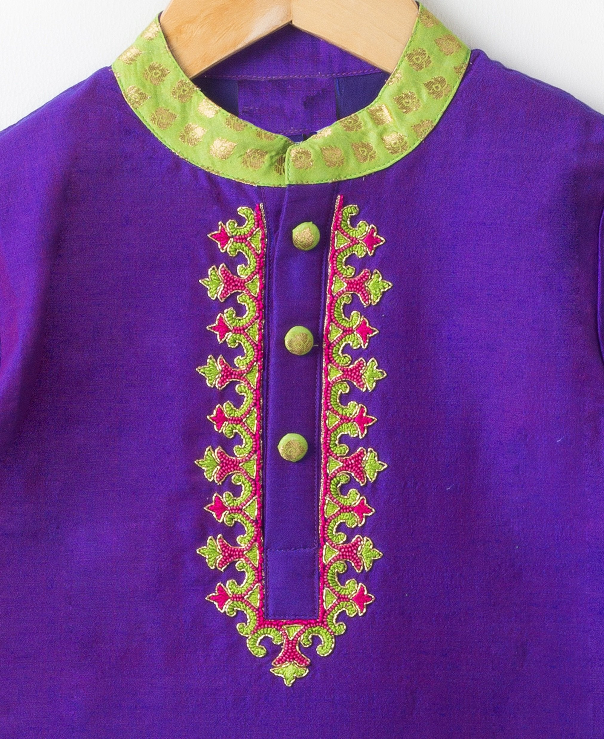 Purple Hand Embroidery Silk Kurta Set