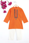 Boy Orange Embroidary Kurta Pajama