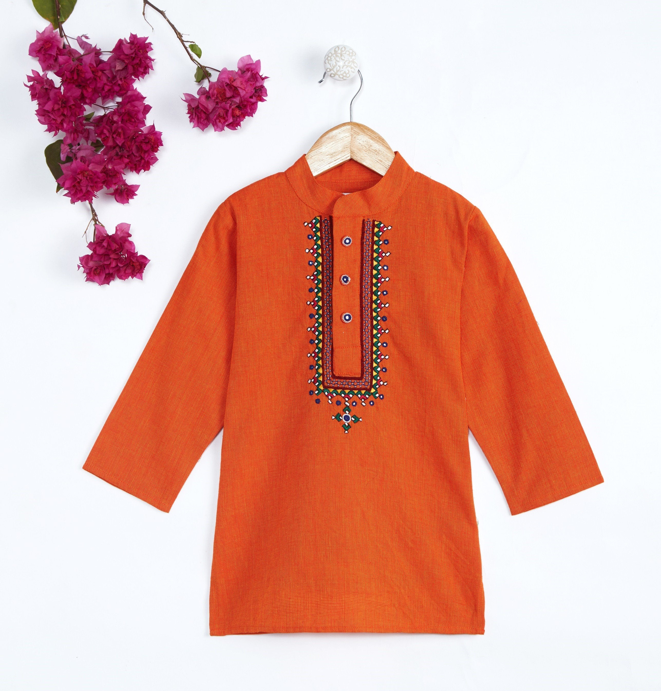 Boy Orange Embroidary Kurta