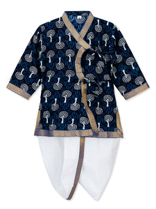 NEW ARRIVALS! Anghrakha Full Sleeves Blue Silver Kurta Dhoti Set