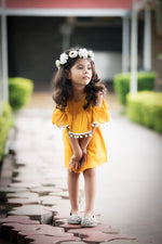 Yellow Pom Pom Summer Dress - FREE SHIPPING
