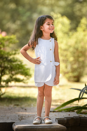 White Summer Wrap Romper Dress - FREE SHIPPING
