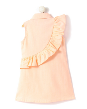 Peach Sleeveless Shirt Dress with Bird Applique - FREE SHIPPING