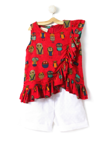 Printed Red Top with White Shorts - FREE SHIPPING