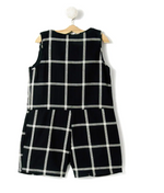 Black Check Wrap Romper Dress - FREE SHIPPING