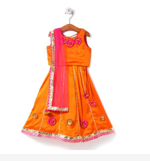 orange lehenga choli for girls