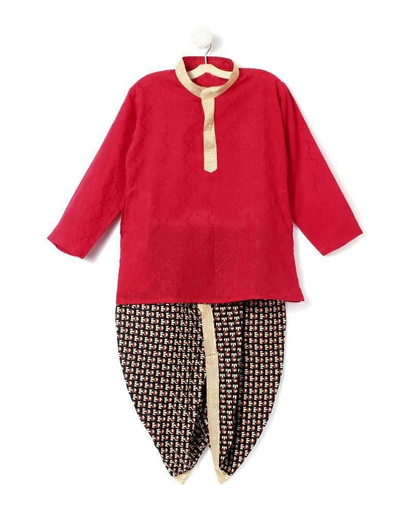 Baby - Printed Cotton Dhoti Kurta - Red & Black