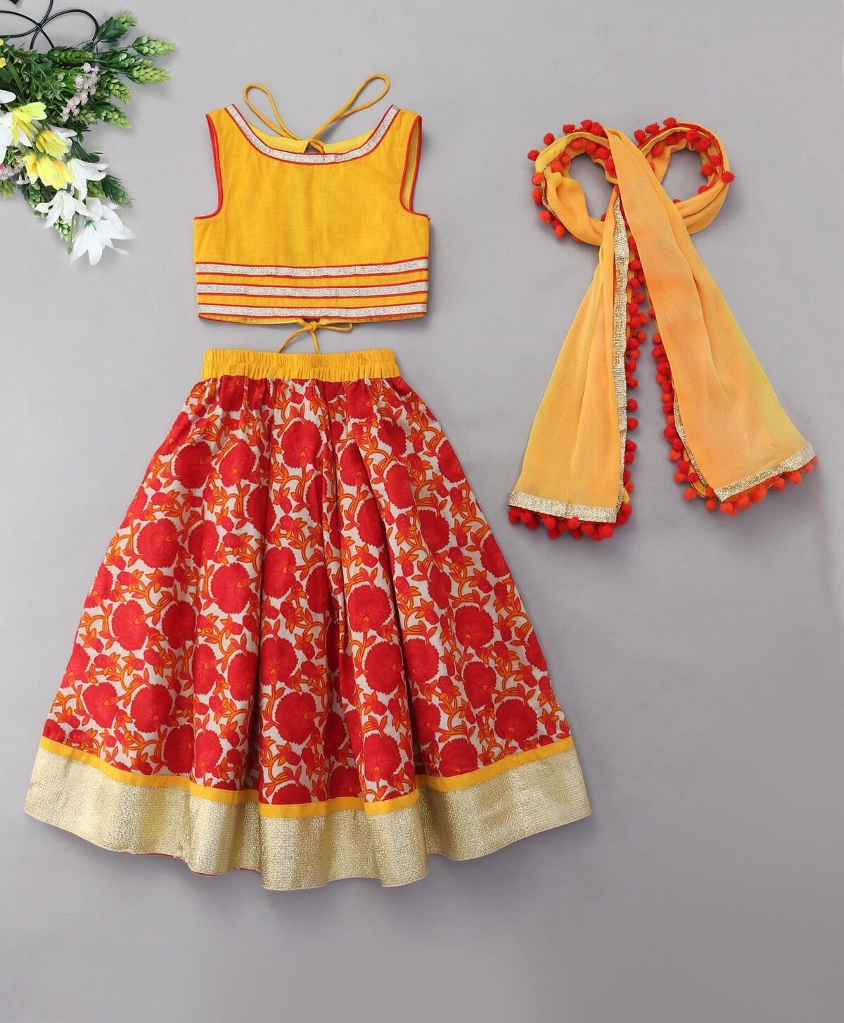 Red yellow floral print Lehenga Choli Indian Ethnic bright colorful festive ethnic kid children