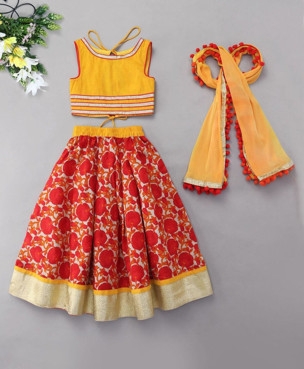 Red yellow floral print Lehenga Choli