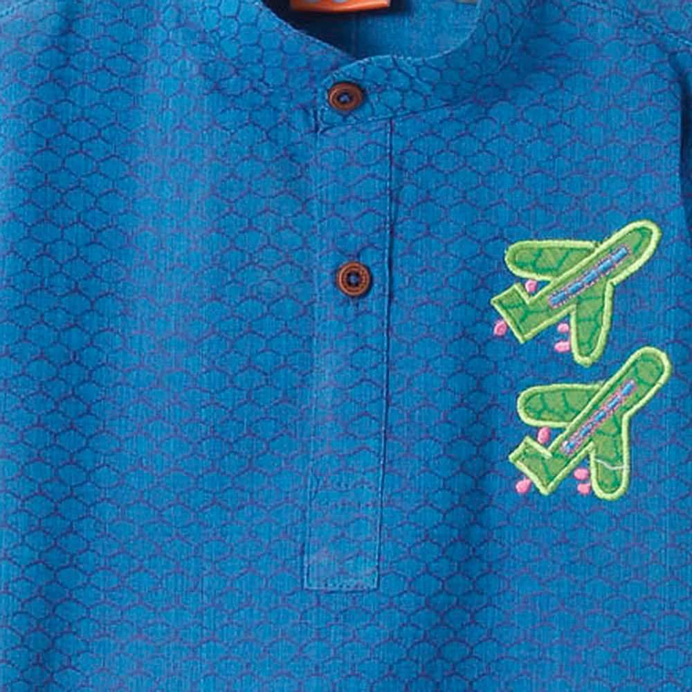 Boys Indo Western Blue Short Kurta
