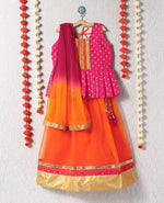 girl lehenga choli peplum neck pink orange indian ethnic wear kid children festive diwali