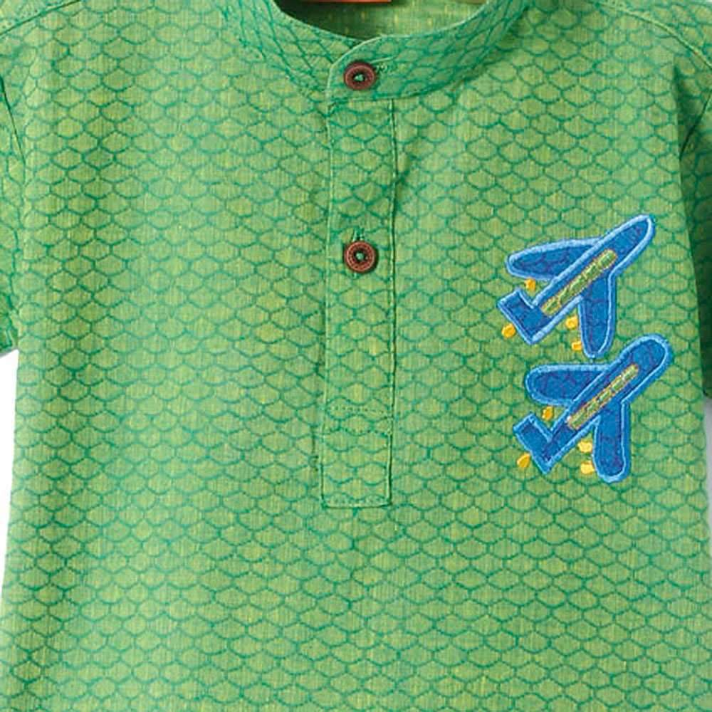Boys Indo Western Green Cotton Short Kurta