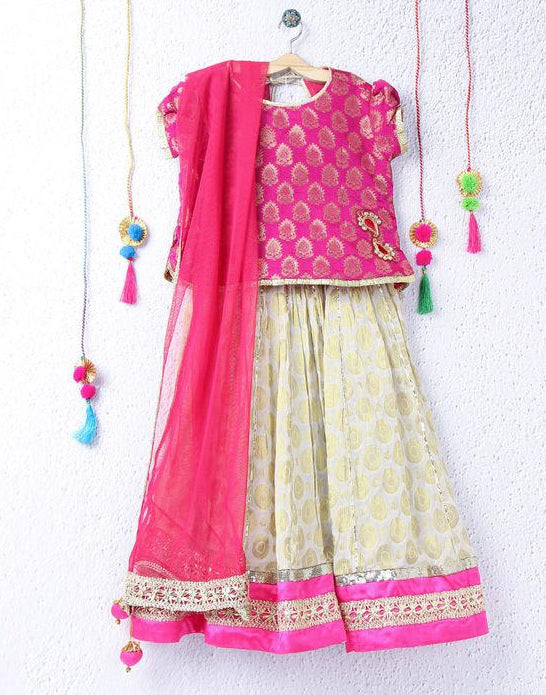 Girl White pink Lehenga choli kid children ethnic festive with Dupatta