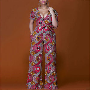 V-Neck Sexy Low-Cut Thin Print Jumpsuit 57856a6fa