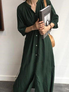 62959b5c994 Fashion Pure Color Long Sleeve Loose Show Thin Shirt Maxi Dresses