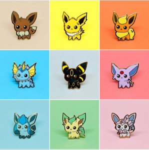 ENAMEL PIN | PKMN | Eeveelution Set (9 Pin Collection)