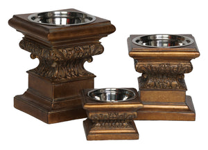 Adore Raised Dog Feeder in Aged Gold - This Product Feeds 15-20 Shelter Dogs!