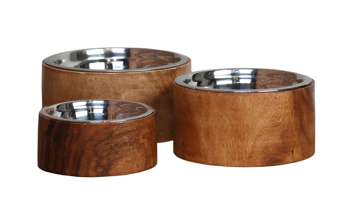 Natural Wood Dog Bowls